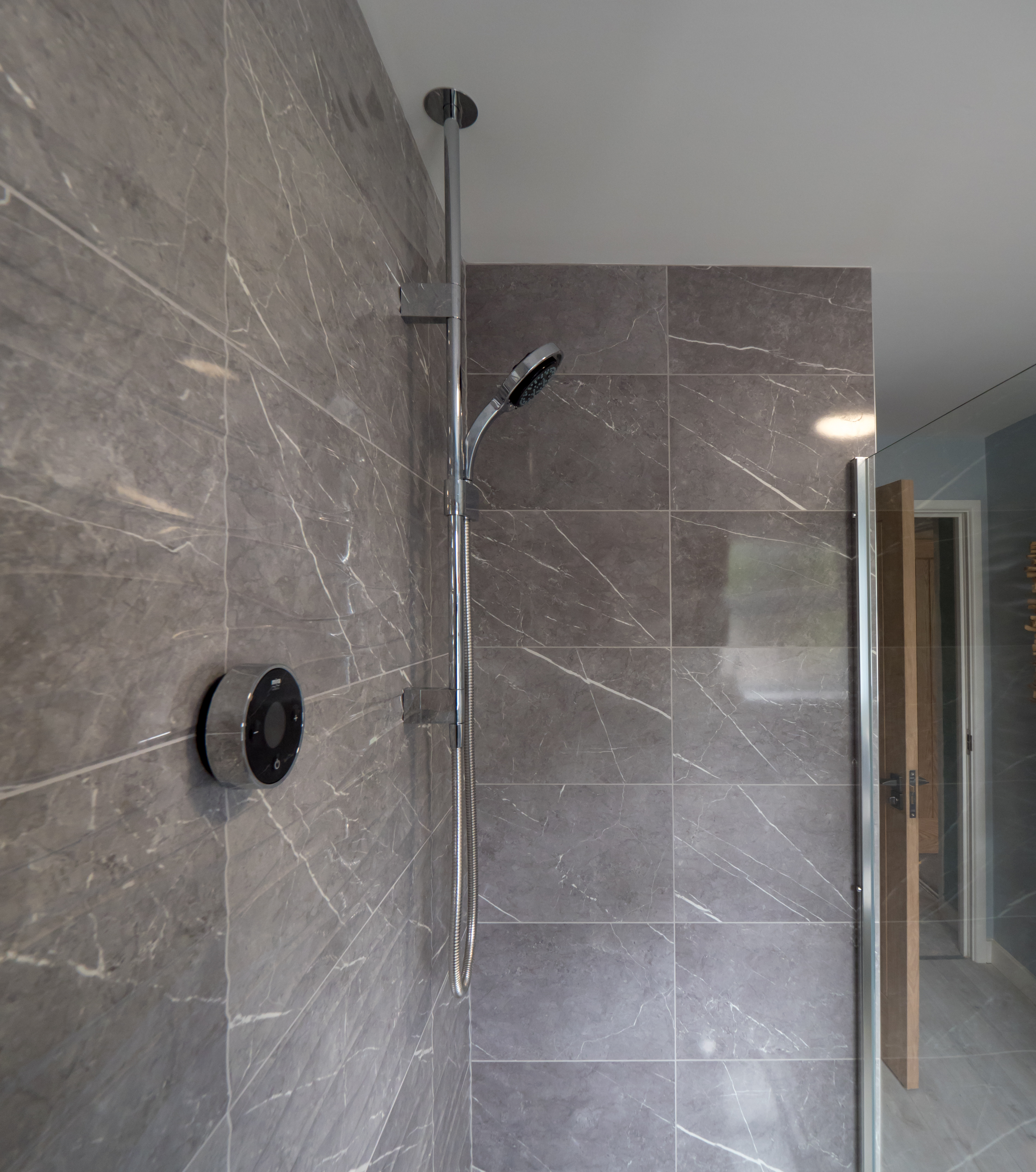 Mira digital shower and offset quadrant walk-in shower