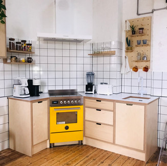Birch Kitchen with Peg Board and Shelves