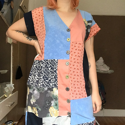 Patchwork Midi Dress - Size M