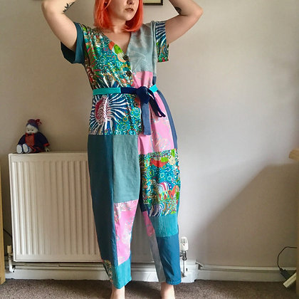 Patchwork pink jumpsuit - size M