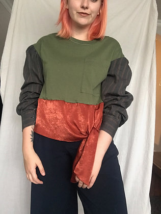 Upcycled puff sleeve top - size M