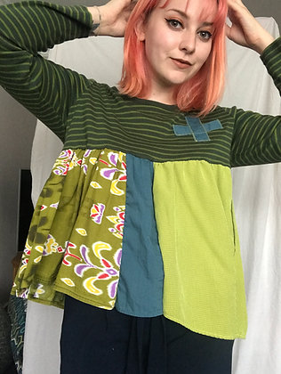 Upcycled green stripe top - size L