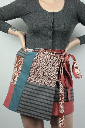 Patchwork wrap skirt mini