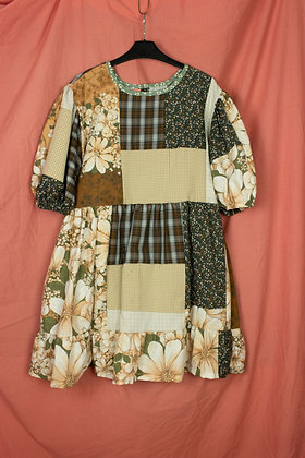 Polly Patchwork Puff Dress - S/M