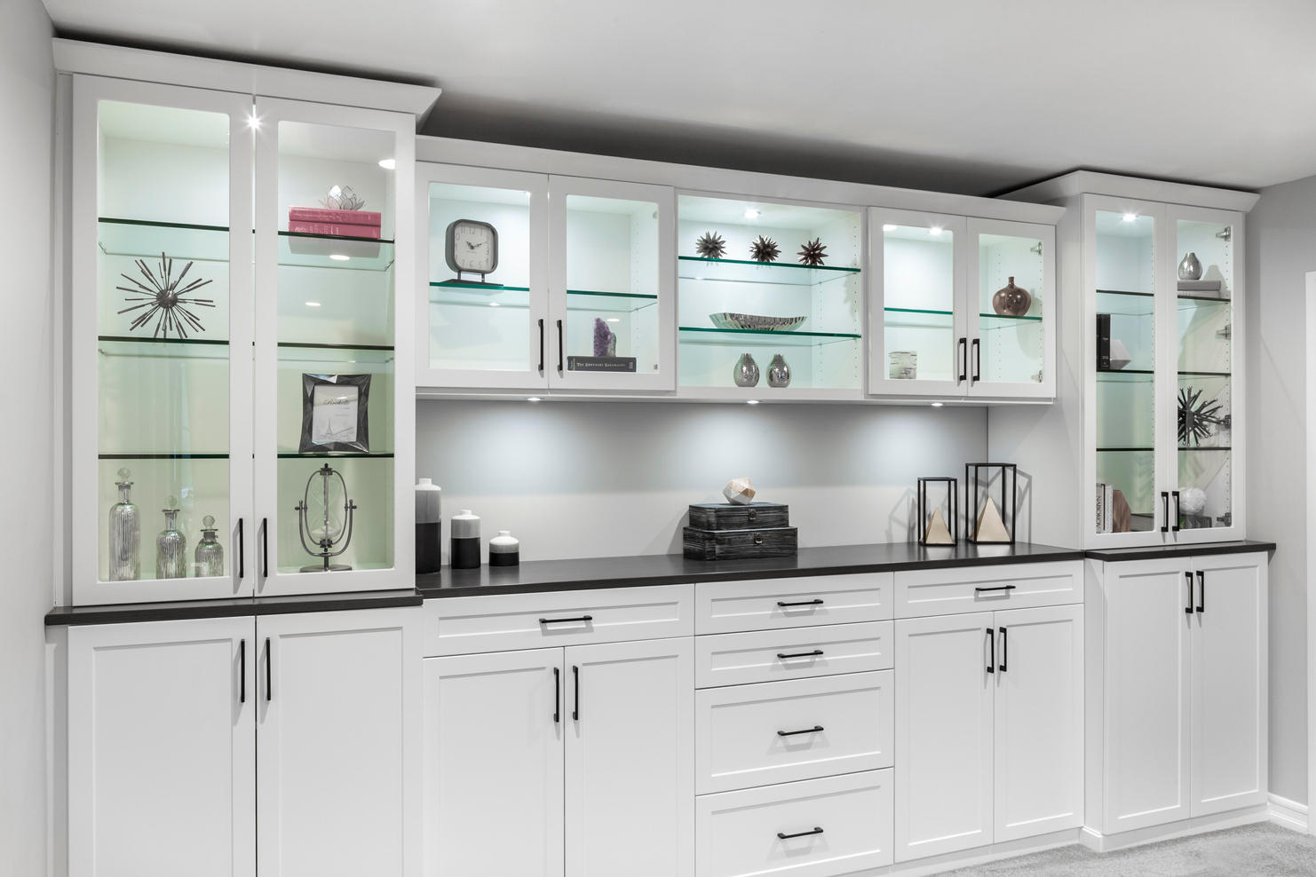 White & Licorice Wall Unit Tight Angle S