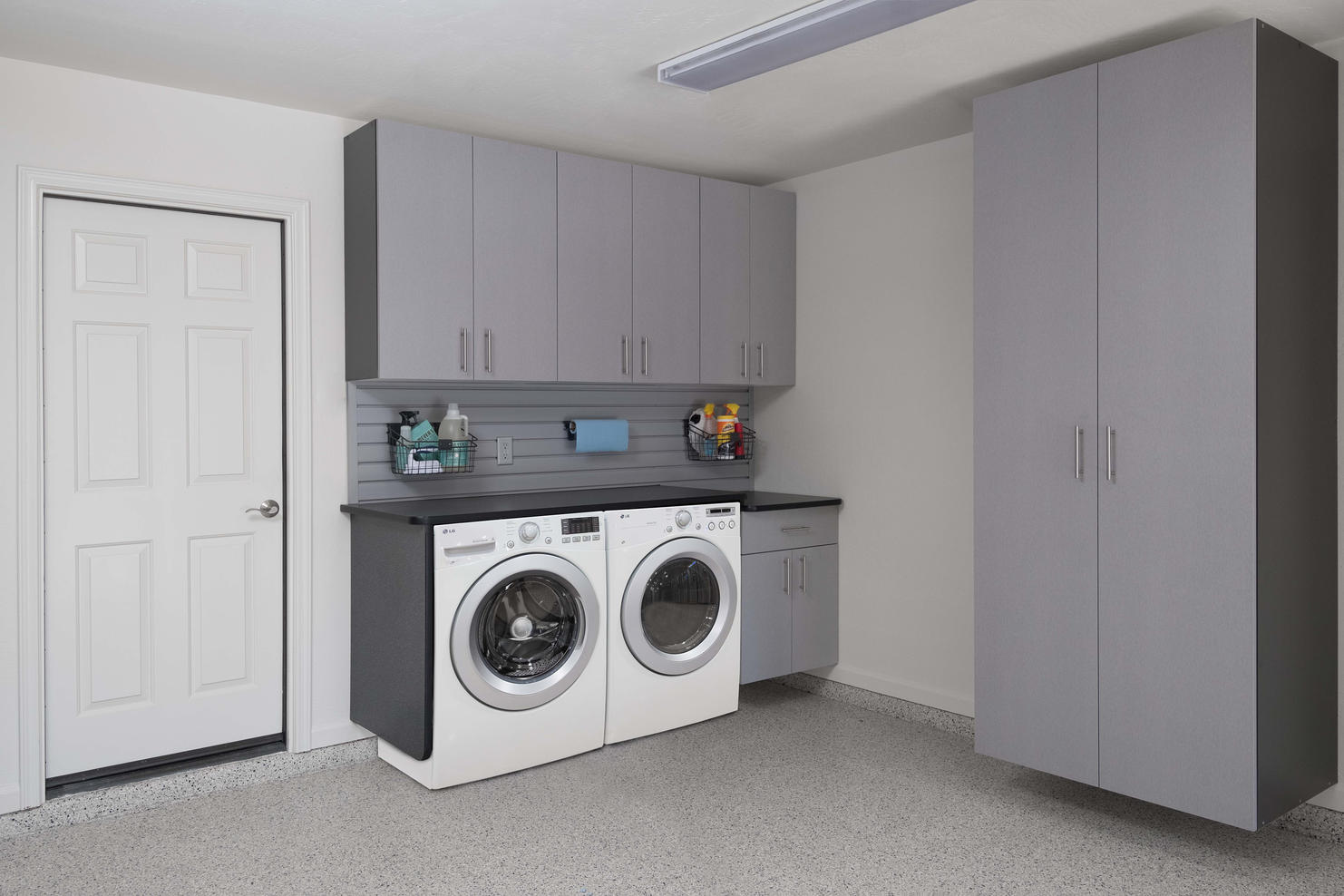Silver Cabinets with Washer Dryer Angle