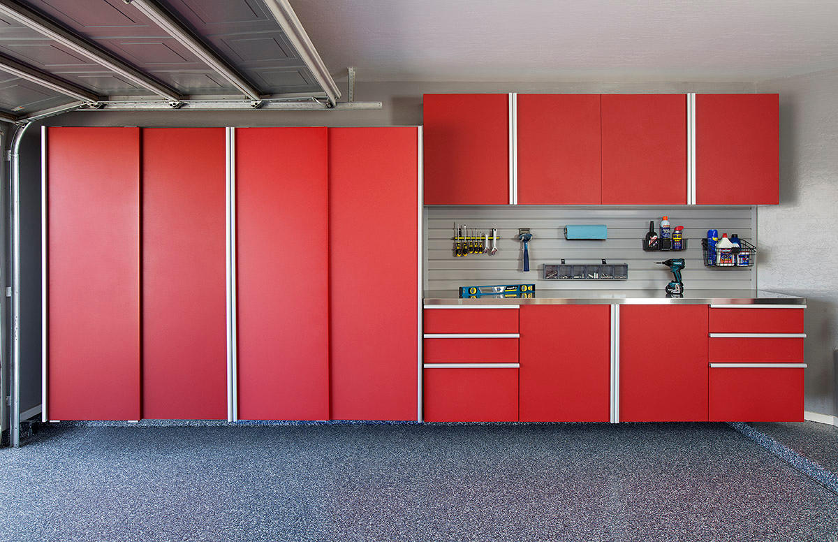 Red Sliding Cabinets Stainless Workbench
