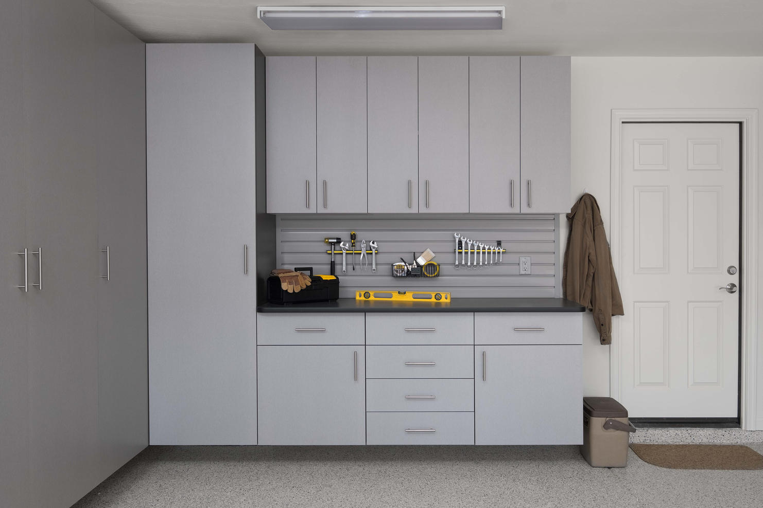 Silver Cabinets with Ebony Star Workbenc