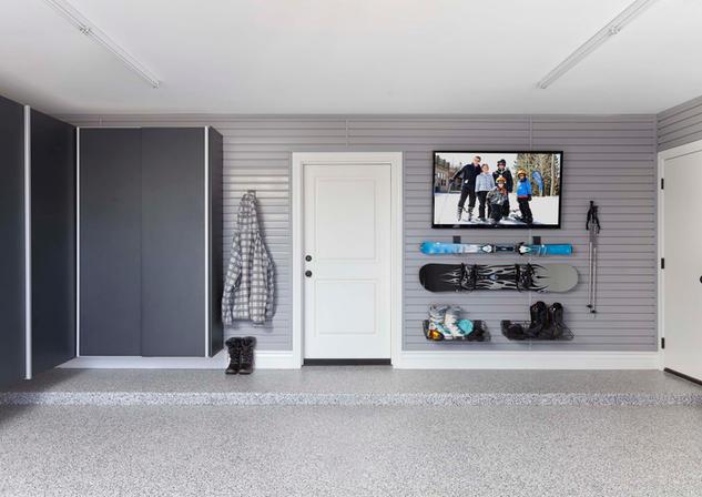 Granite Cabinets Grey Slatwall with Ski