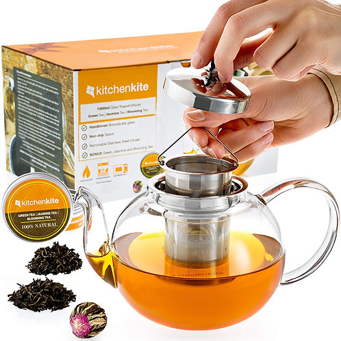Glass Teapot with Infuser and Sampler