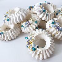 Vanilla and rosewater meringue halos.