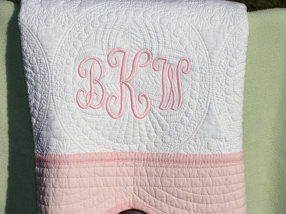 Personalised Heirloom Cot Quilt - White/Pink Trim