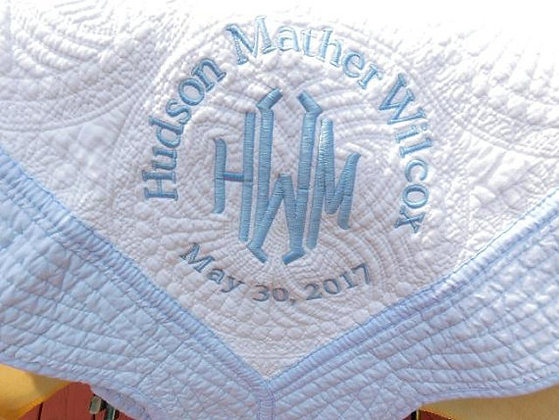Personalised Heirloom Cot Quilt - White/Pale Blue Trim