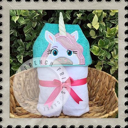 Pretty Unicorn Handmade Hooded Towel