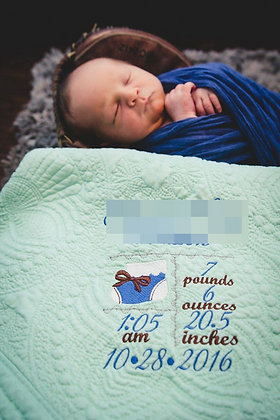 Personalised Heirloom Cot Quilt - Mint