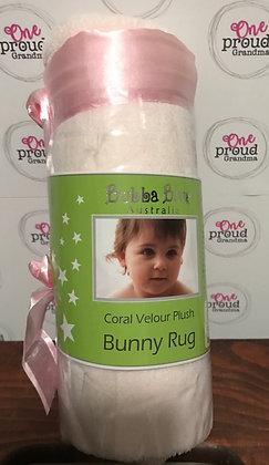 Coral Velour Plush Bunny Rug - Pink
