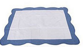 Personalised Heirloom Cot Quilt - White/Periwinkle Blue Trim