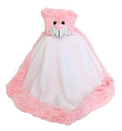 Classic Bear Blankie in Pink by Snugabudz