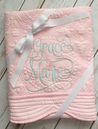 Personalised Heirloom Cot Quilt - Pink