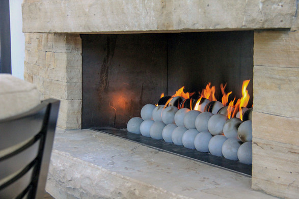 "New installation with ceramic ""canon balls"" media"