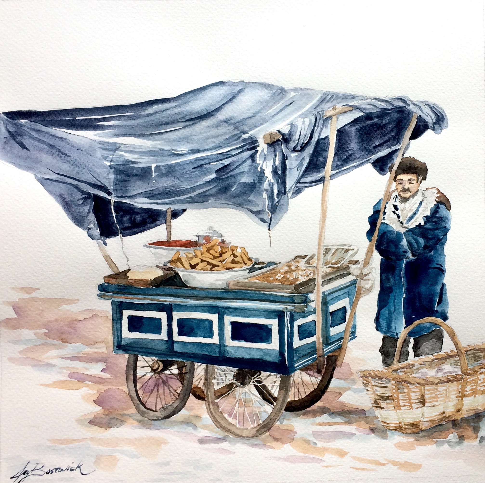 Blue Cart in Winter