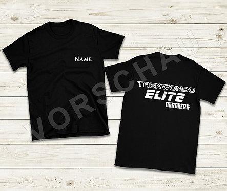 T-Shirt schwarz (Baumwolle oder Polyester) mit Namen vorne
