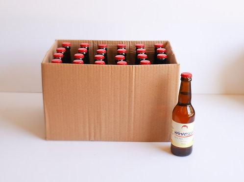 """סיידר תפוחים 330 מ""""ל חצי יבש 7% אלכוהול ארגז 24 יח' תווית אנגלית."""