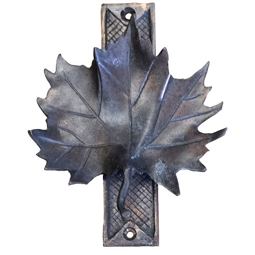 Solid bronze maple leaf door knocker - Dark bronze
