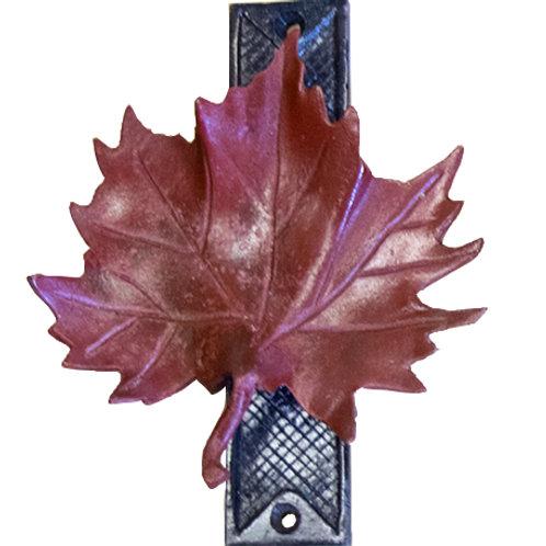 Solid bronze maple leaf door knocker - Red