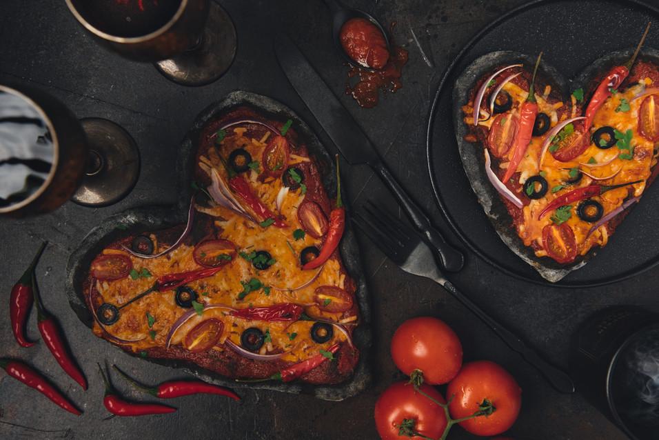 Charcoal Valentine's pizza