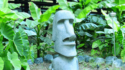 Giant Easter Island Statue at River Park in tropical surroundings with Banana Trees and Giant Elepha