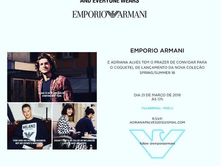 CONVITE PARA EVENTOHOJE:21/03 -COQUETEL EMPÓRIO ARMANI SPRING/SUMMER 2018