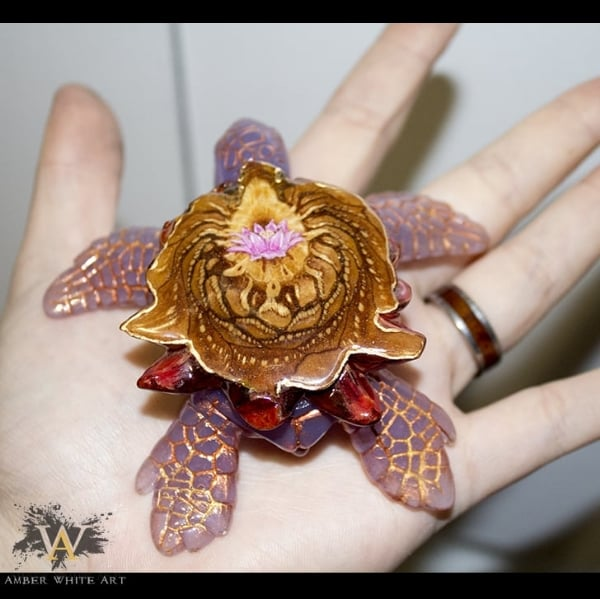 Pink Lotus Sea Turtle Pendant