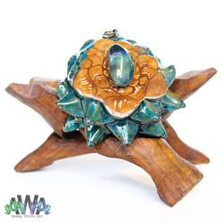 Aqua Aura Pinecone Pendant