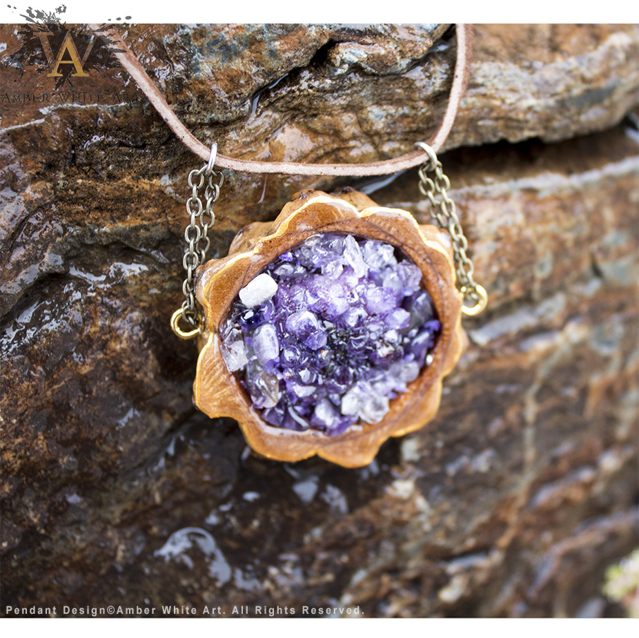 Amethyst Crystal Pinecone Pendant