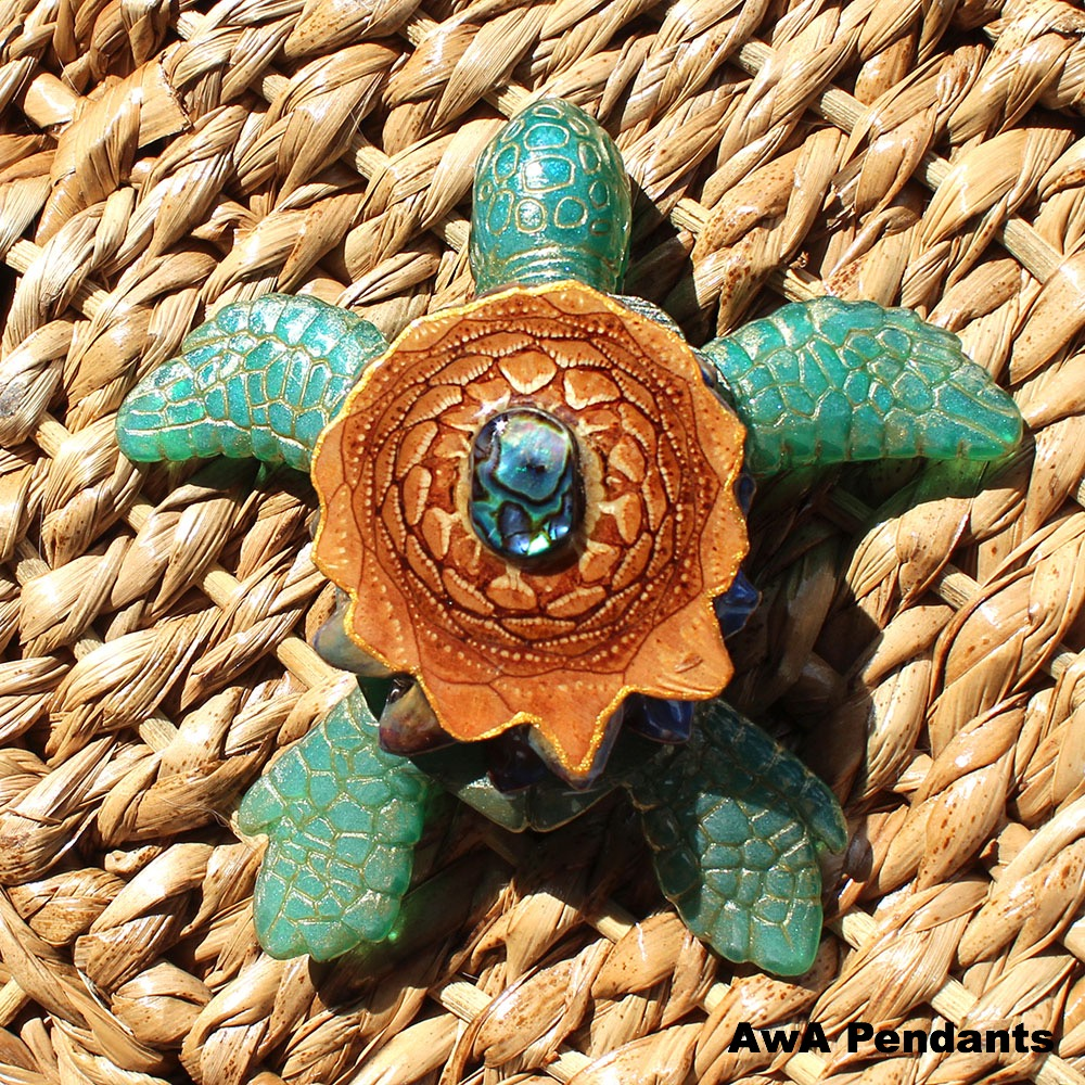 Abalone Sea Turtle Pinecone Pendant