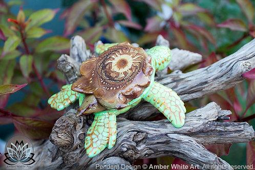Natural Pinecone Pendant - AwA Sea Turtle Pinecone Pendant - Spirit Animal Totem