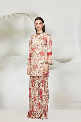 FLORAL PLEATED KURUNG