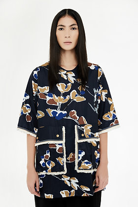 ABSTRACT PRINTED BOXY TOP