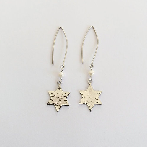 textured sterling silver star of david drop dangle earrings with freshwater pearl handcrafted in Jerusalem
