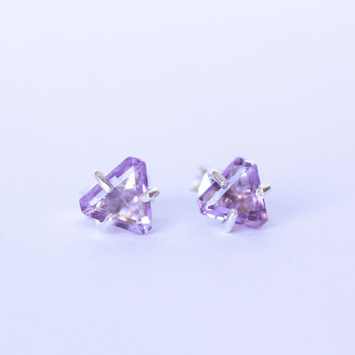 Purple amethyst and sterling silver triangular stud earrings unique handcrafted jewelry from Jerusalem
