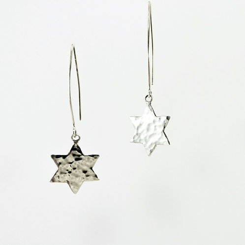 textured sterling silver star of david drop dangle earrings handcrafted in Jerusalem