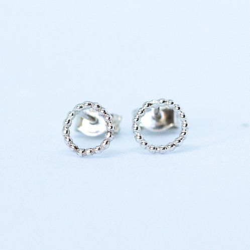 Sterling silver studs circle of dots minimal earrings handcrafted unique jewelry from Jerusalem