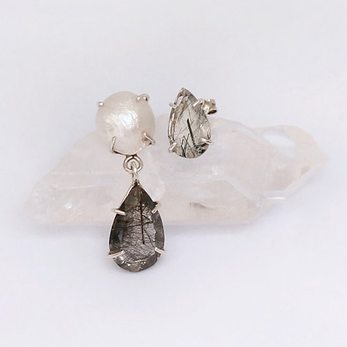 Asymetric Baroque Pearl and Tourmalinated Quartz Earrings