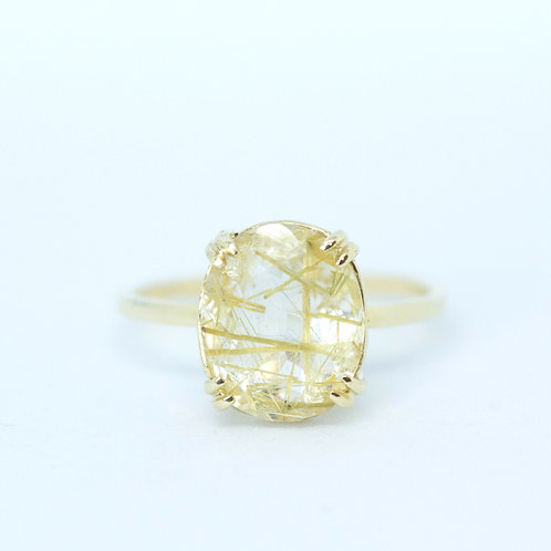 Rutilated Quartz Solitaire, Double Claw Setting