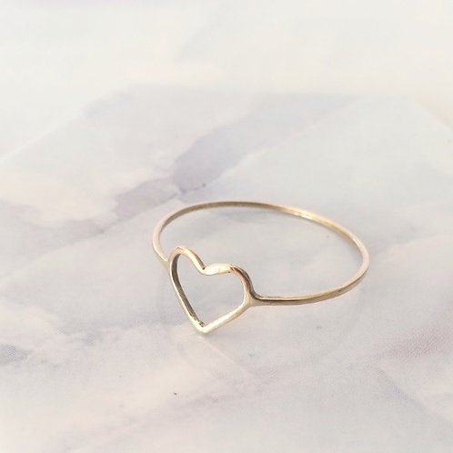 unique handcrafted gold heart stacking ring from Israel Jerusalem
