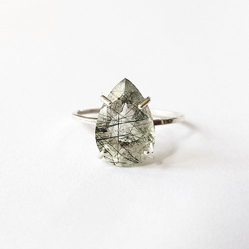 unique handcrafted sterling silver teardrop pear cut rutilated quartz cocktail stacking ring Jerusalem Israel