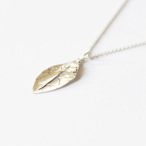 unique handcrafted sterling silver leaf pendant necklace Jerusalem Israel