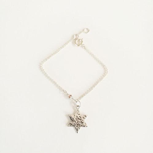 unique handcrafted sterling silver bracelet star of david with tourmaline stones Israel Jerusalem