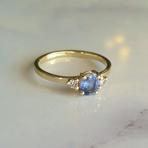 Ceylon Sapphire & Diamond Engagement Ring